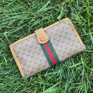 Vtg Gucci monogram sherry line large wallet